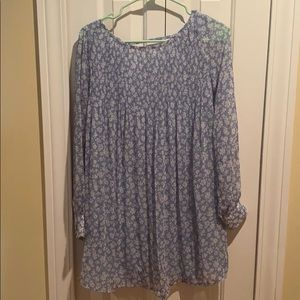 Kimchi Blue light blue and white floral tunic